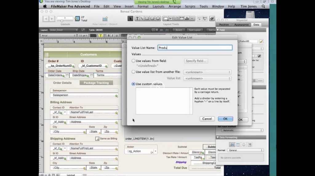 FileMaker lavorare con i layout